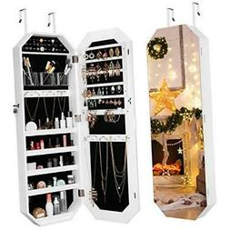 LANGRIA Jewelry Cabinet Organizer with Frameless Full Length