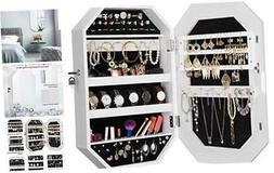 LANGRIA Lockable Jewelry Cabinet Organizer with Mirror, Diam