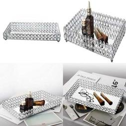 Large Crystal Rectangle Mirrored Tray Cosmetic Vanity Jewelr
