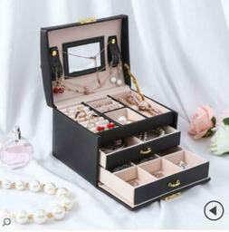 Large Jewelry Box Rings Cabinet Necklace Organizer Storage M