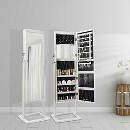 Large Jewelry Mirror Cabinet Storage W/ LED Light Floor Dres