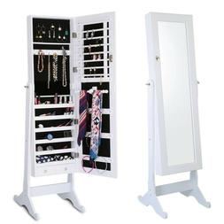 Large Lockable Solid Jewelry Mirror Cabinet Armoire Organize