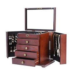 Large Women Wooden Jewelry Box Built-in Mirror and Lock Beau