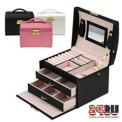 Leather Jewelry Box Organize Case 3 Layer Display Box Mirror