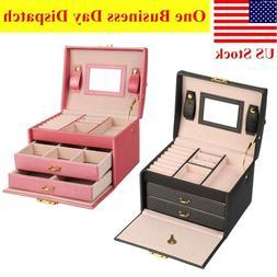 Leather Jewelry Box Organizer Case 3-Layer Display Box Mirro