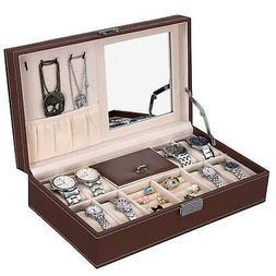 Leather Jewelry Box w/ Lock Men Women Mirror Watch Rings Hol