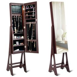 LED Jewelry Cabinet Armoire Organizer Standing Storage with