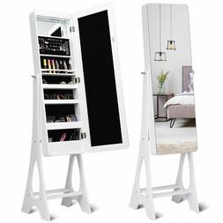 LED Jewelry Cabinet Standing Armoire Organizer w/ Bevel Edge