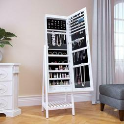 ELEGANT LED Jewelry Cabinet with Full-Length Mirror, 2 Angle