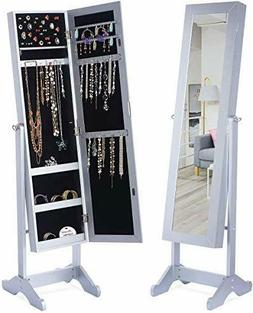 LED Light Jewelry Cabinet Armoire with Mirror, Large Storage