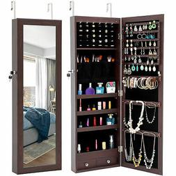 led lights full mirror jewelry organizer wood
