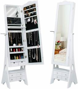 LED Mirrored Jewelry Cabinet Organizer, Full Length Standing