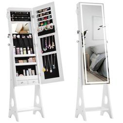LEDs Jewelry Organizer,Armoire Cabinet Standing Jewelry Box