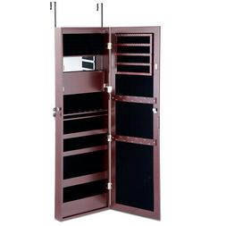 Lockable Full Size Mirror Jewelry Cabinet Armoire Organizer
