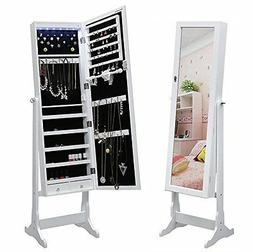 Lockable Jewelry Cabinet Standing Armoire Organizer with Mir