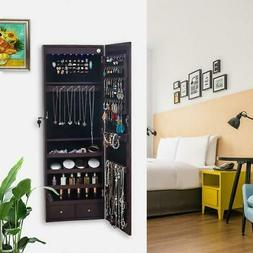Lockable Mirror Jewelry Cabinet Armoire Organizer Wall Door