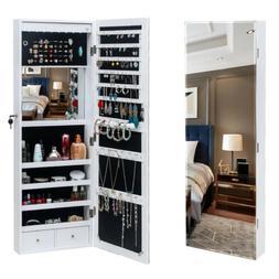 Lockable Mirror Jewelry Cabinet Wall Door Mount Armoire Orga