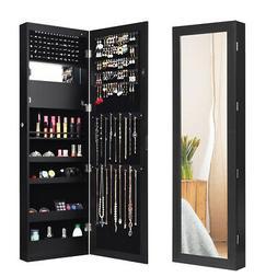 lockable mirror jewelry cabinet wall door mounted