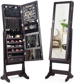 lockable standing jewelry cabinet with full length