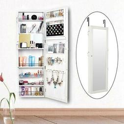 Lockable Wall Mount Mirrored Jewelry Makeup Holder Cabinet O