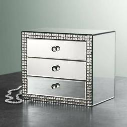 "Lorain 3-Drawer 12"" Wide Mirrored Jewelry Box"