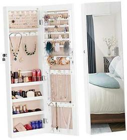 LUXFURNI Mirror Jewelry Cabinet 6 LED Lights Wall-Mount/Door