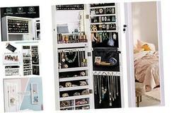 LUXFURNI Mirror Jewelry Cabinet 79 LED Lights Wall-Mount/Doo