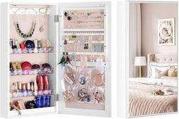 LUXFURNI Small Mirror Jewelry Cabinet Wall-Mount/Door-Hangin