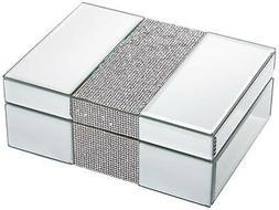 "Lyza Rhinestone 8 1/4"" Wide Mirrored Jewelry Box"