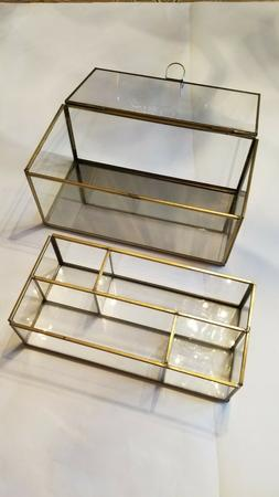 Madam Stoltz Brass and Glass Jewelry Box with Mirror Floor
