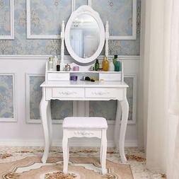 Makeup Vanity Dressing Table Set W/Stool Mirror 4 Drawers Je