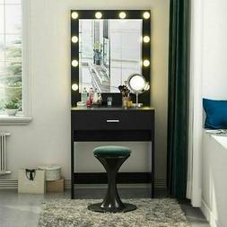 Makeup Vanity Dressing Table Set W/ Led Mirror Drawers Jewel