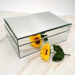 Meetart Silver Glass Mirrored Jewelry Box Simple Classic Sto