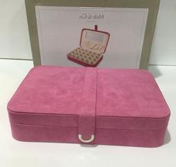 Mele & Co Pink Suede Jewelry Box W/ Mirrored Lid & Pocket 24