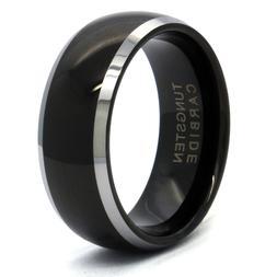 Men's Tungsten Carbide Black Mirror Curved Wedding Band Ring