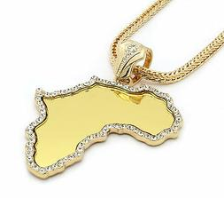 "Mens Gold Africa Mirror Cz Pendant Hip-Hop 30"" Inch 4mm Fran"