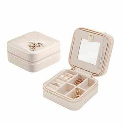 Mini Stud Earrings Rings Jewelry Box With Mirrors Makeup Org