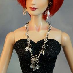 """Mirror Cube & Rhinestone Necklace Earrings Jewelry 16"""" & 22"""""""