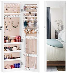 Mirror Jewelry Cabinet 6 LED Lights Wall-Mount/Door-Hanging