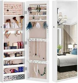 LUXFURNI Mirror Jewelry Cabinet Wall-Mount/Door-Hanging Armo