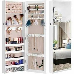 Mirror Jewelry Cabinet Wall-Mount/Door-Hanging Armoire, Full