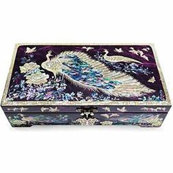 Mirror Lid Peacocks Design Purple Jewelry Box Home &amp Kitc