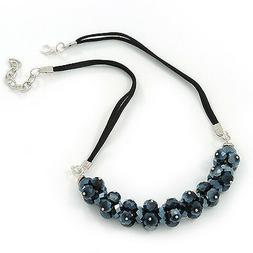 Mirrored Black Cluster Glass Bead Suede Necklace In Silver P