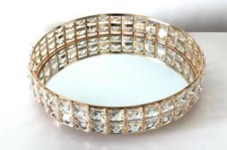 Mirrored Cosmetic Tray Crystal Shining Jewelry Organizer Tra