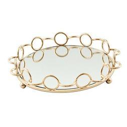 Mirrored Glass Vanity Countertop Jewelry Tray Plate Tealight