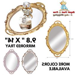 Mirrored Glass Vanity Tray Jewelry Perfumes Bathroom Make Up
