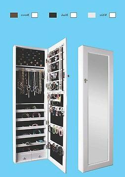Mirrored Jewelry Armoire Cabinet Storage Wall Mount Hang ove