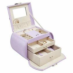 Vlando Mirrored Jewelry Box Organizers for Girls Women, Faux