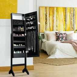 Mirrored Jewelry Cabinet Armoire Organizer With 18 LED Light