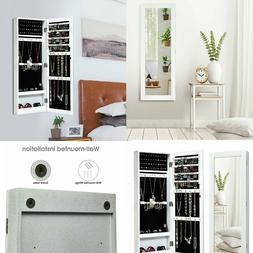 Mirrored Jewelry Cabinet Armoire Storage Organizer Wall Moun